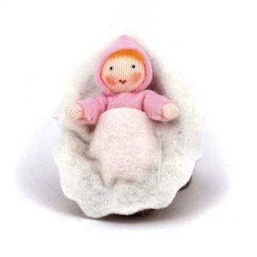 Bébé rose dans une noix