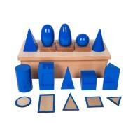 Solides de géométrie mats avec supports ,bases et boîte de rangement
