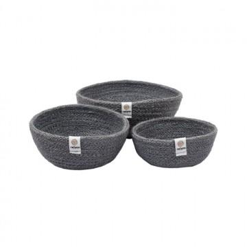 3 petits bols en jute-gris