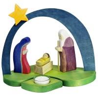 Crèche de Noël avec bougie