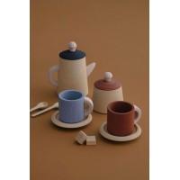 Service à thé Terracotta et bleu