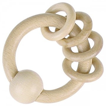 Hochet avec 4 anneaux en bois