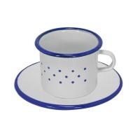 Tasse et sous-tasse émaillées