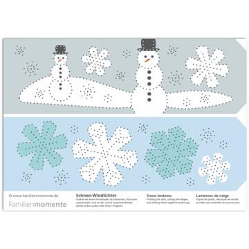 """Carte à poinçonner """"photophores bonhomme de neige"""""""