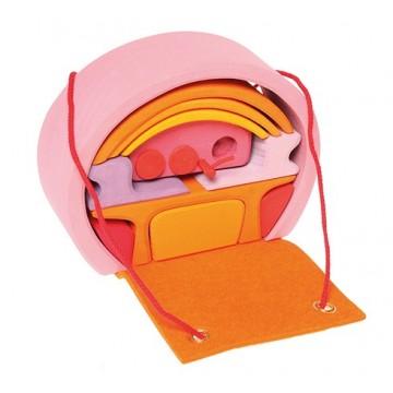 Maison de poupées transportable rose-orange