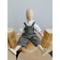 Poupée en bois Lala - hêtre - salopette et chemise