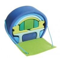 Maison de poupées transportable bleu-vert
