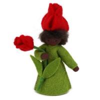 Fée Tulipe rouge, fleur à la main- peau noire