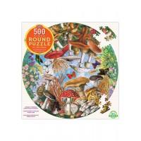 Puzzle 500 pièces rond - champignons et papillons