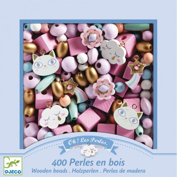 Perles en bois arc en ciel