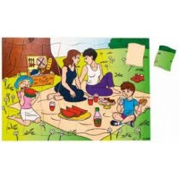 Puzzle family having a picnic