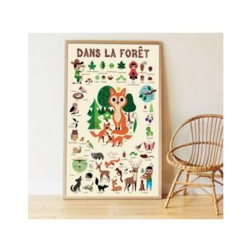 Poster + 60 stickers : Dans la forêt