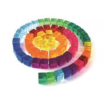 100 cubes translucides colorés- Bauspiel