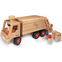 Camion à ordures en bois Fagus avec bacs à roulettes