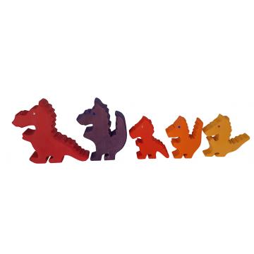 Famille de dragons en bois