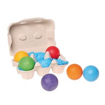 6 boules de bois colorées