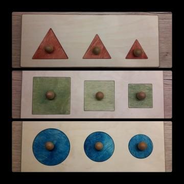 3 puzzles à encastrements : rond, triangle, carré