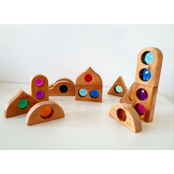 Fenêtres de contes de fées, bois naturel - 12 pièces