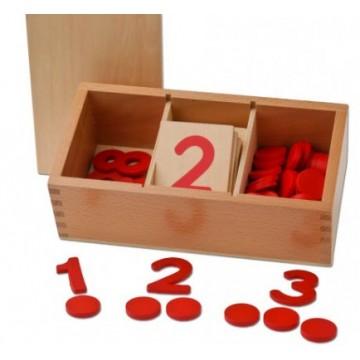 Boîte de jetons et chiffres