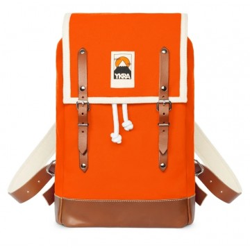 Ykra Sac Matra Mini orange - fond cuir