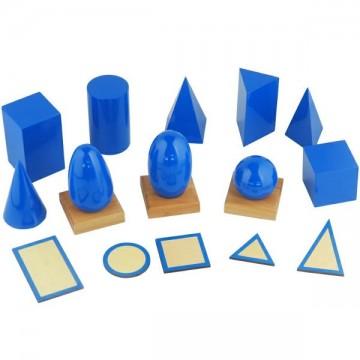 Solides de géométrie laqués avec supports et bases