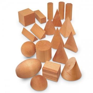 19 solides de géométrie - bois naturel