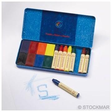 8 crayons de cire et 8 blocs Stockmar-boîte métal