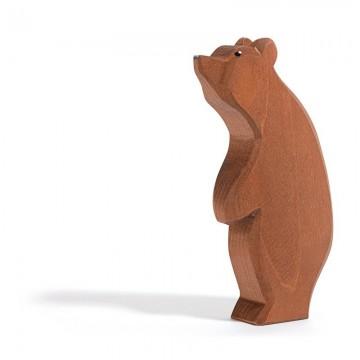 Grand ours brun sur deux pattes tête levée