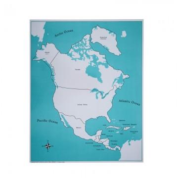 Carte de contrôle pour le puzzle de l'Amérique du Nord et centrale