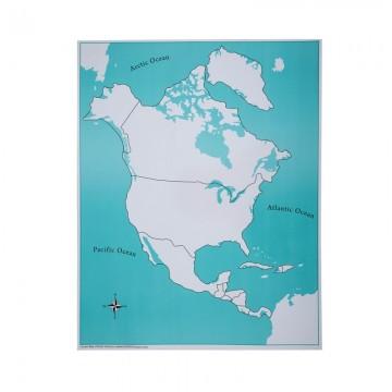 Carte vierge pour le puzzle de l'Amérique du Nord et centrale