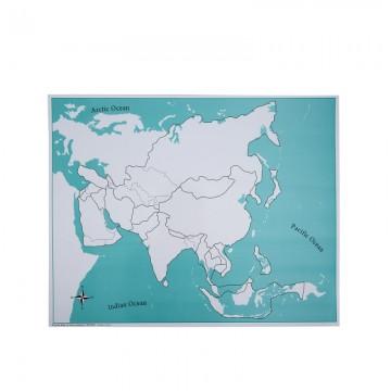 Carte vierge pour le puzzle de l'Asie
