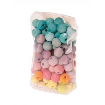 120 perles colorées 12 mm, tons pastels