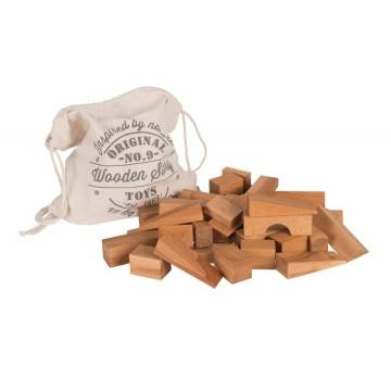 50 blocs en bois XL en sac de jute