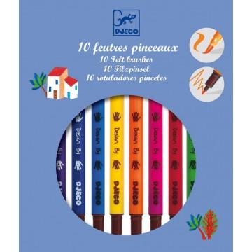 10 feutres pinceaux - coloris classiques