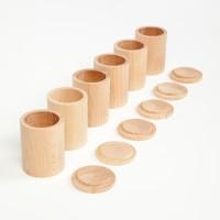 6 pots bois naturel avec couvercle