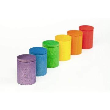 6 pots avec couvercle- couleurs de l'arc en ciel