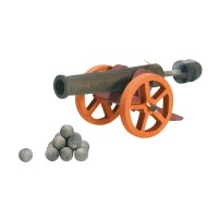 Grand canon avec 10 boulets