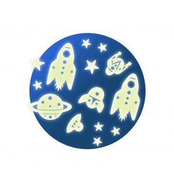 Stickers muraux phosphorescents : Mission espace