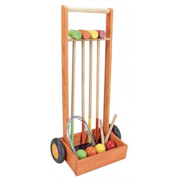Jeu de croquet en bois et chariot