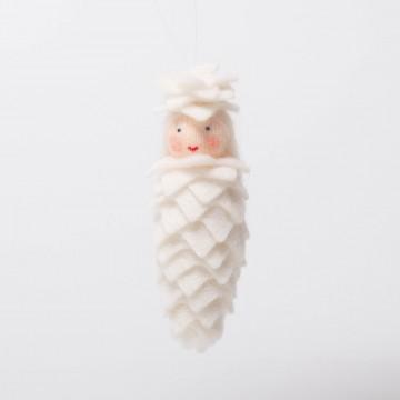 """Elfe """"pomme de pin blanche"""" à suspendre"""