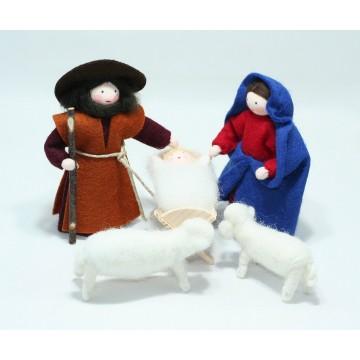 La Sainte Famille et deux moutons